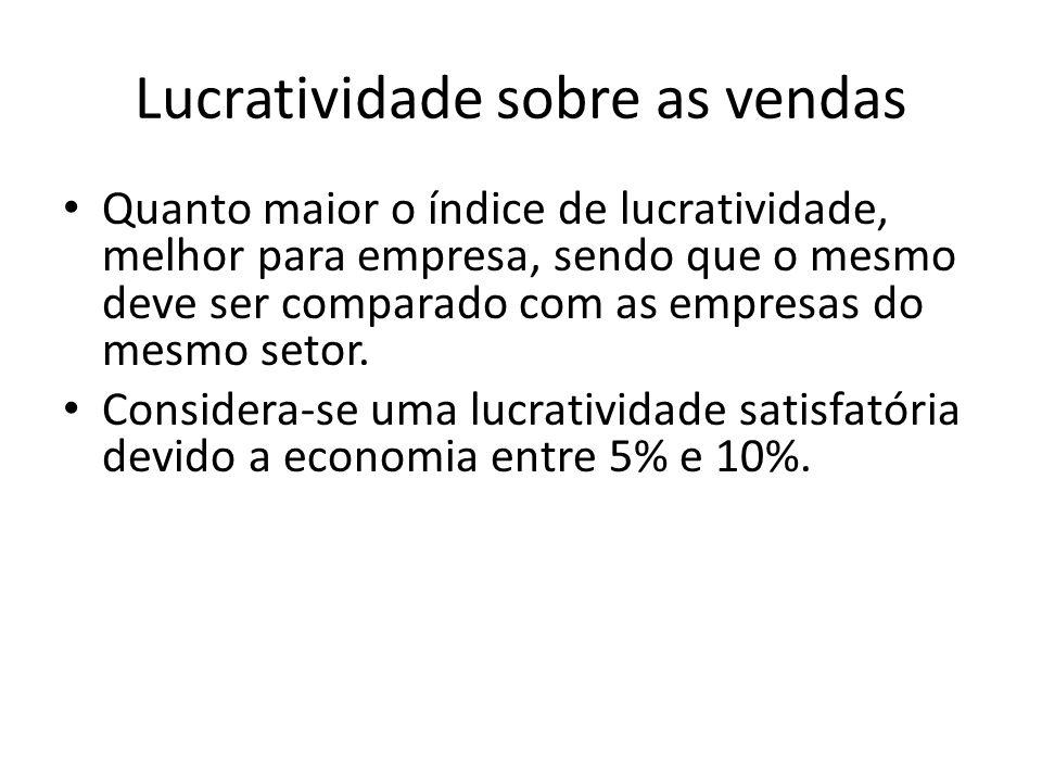 Lucratividade sobre as vendas Quanto maior o índice de lucratividade, melhor para empresa, sendo que o mesmo deve ser comparado com as empresas do mes