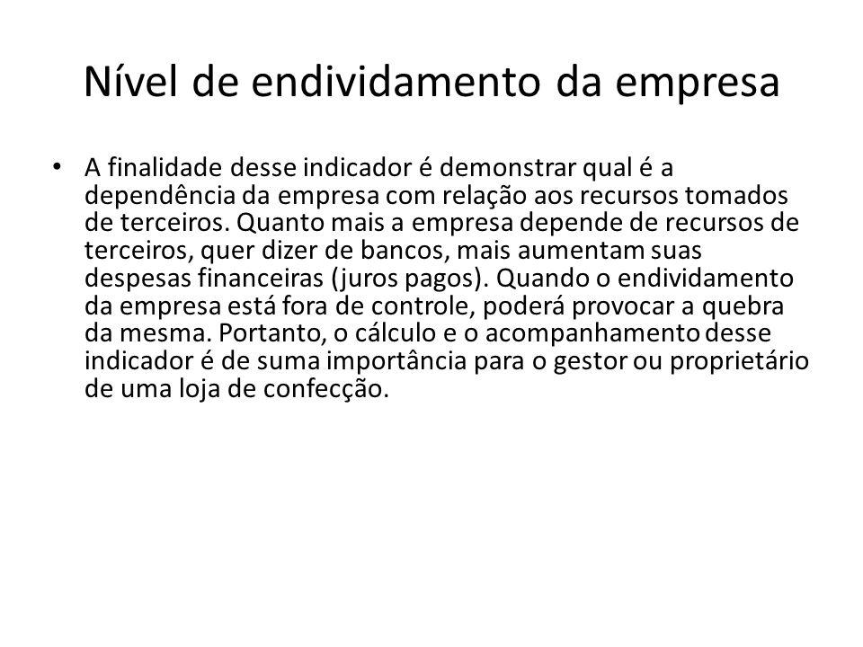 Nível de endividamento da empresa A finalidade desse indicador é demonstrar qual é a dependência da empresa com relação aos recursos tomados de tercei