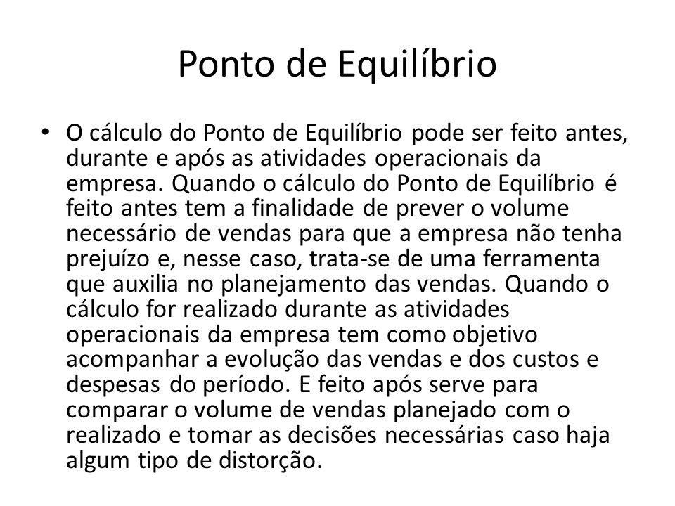 Ponto de Equilíbrio O cálculo do Ponto de Equilíbrio pode ser feito antes, durante e após as atividades operacionais da empresa. Quando o cálculo do P