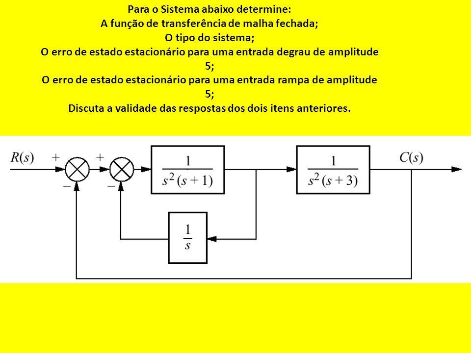 Para o Sistema abaixo determine: A função de transferência de malha fechada; O tipo do sistema; O erro de estado estacionário para uma entrada degrau de amplitude 5; O erro de estado estacionário para uma entrada rampa de amplitude 5; Discuta a validade das respostas dos dois itens anteriores.