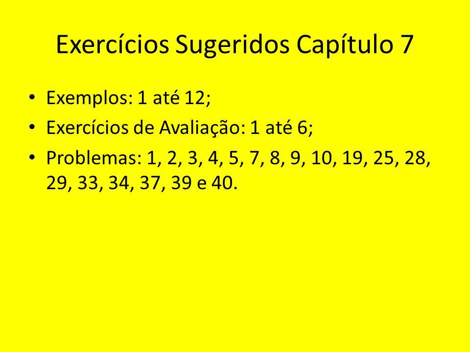 Exercícios Sugeridos Capítulo 7 Exemplos: 1 até 12; Exercícios de Avaliação: 1 até 6; Problemas: 1, 2, 3, 4, 5, 7, 8, 9, 10, 19, 25, 28, 29, 33, 34, 37, 39 e 40.