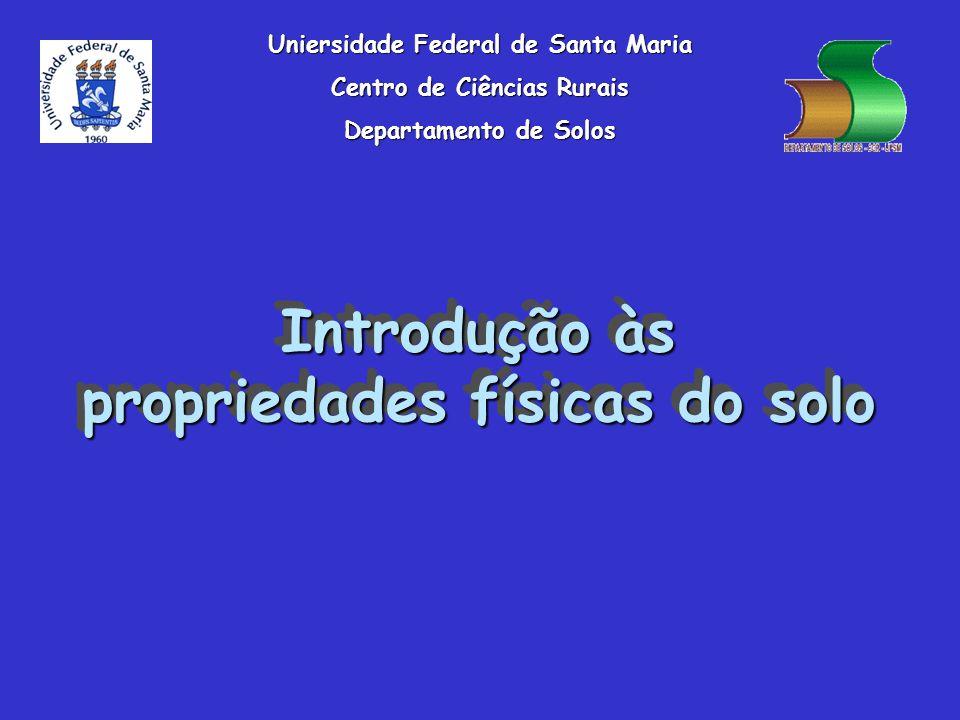 Introdução às propriedades físicas do solo Uniersidade Federal de Santa Maria Centro de Ciências Rurais Departamento de Solos