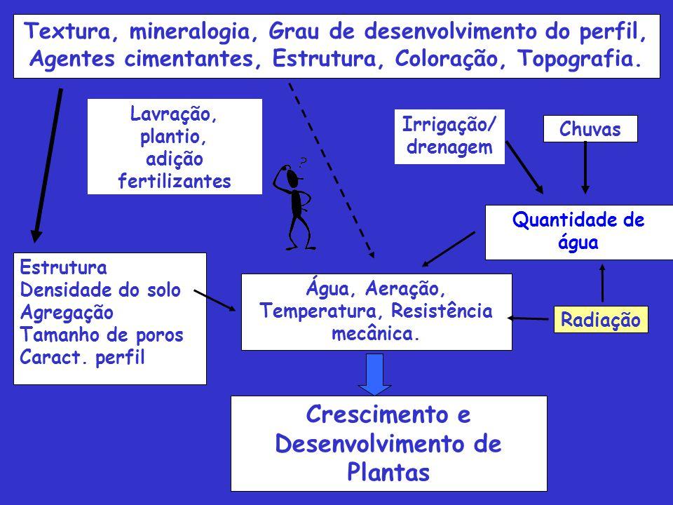 Textura, mineralogia, Grau de desenvolvimento do perfil, Agentes cimentantes, Estrutura, Coloração, Topografia.