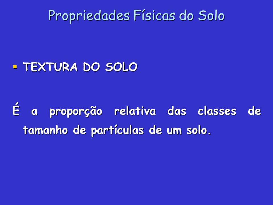 Propriedades Físicas do Solo TEXTURA DO SOLO TEXTURA DO SOLO É a proporção relativa das classes de tamanho de partículas de um solo.