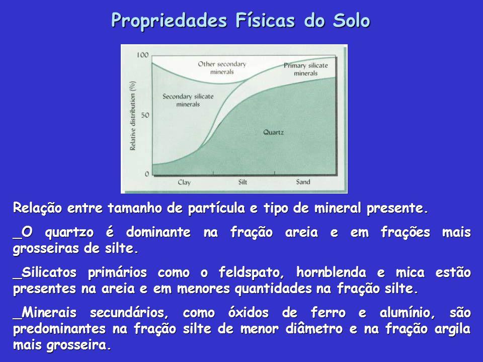 Propriedades Físicas do Solo Relação entre tamanho de partícula e tipo de mineral presente.