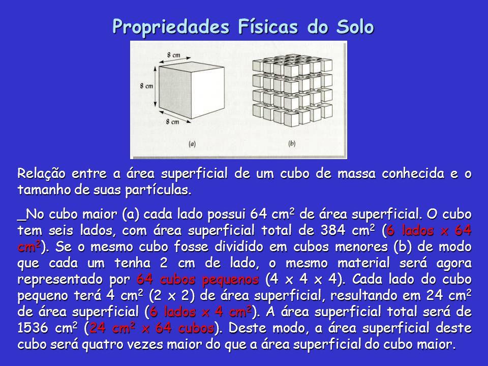 Propriedades Físicas do Solo Relação entre a área superficial de um cubo de massa conhecida e o tamanho de suas partículas. _No cubo maior (a) cada la
