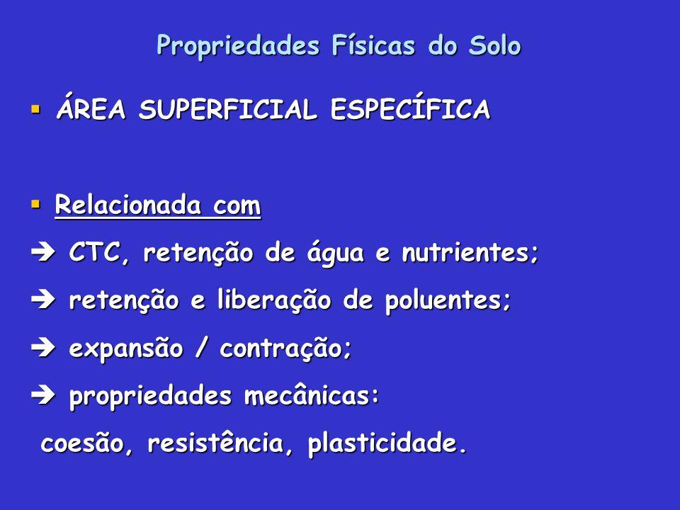 Propriedades Físicas do Solo ÁREA SUPERFICIAL ESPECÍFICA ÁREA SUPERFICIAL ESPECÍFICA Relacionada com Relacionada com CTC, retenção de água e nutriente