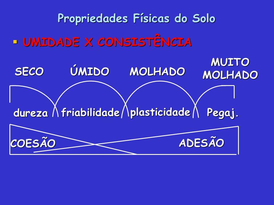 Propriedades Físicas do Solo UMIDADE X CONSISTÊNCIA UMIDADE X CONSISTÊNCIA dureza friabilidade plasticidade Pegaj. SECOÚMIDOMOLHADOMUITOMOLHADOADESÃO