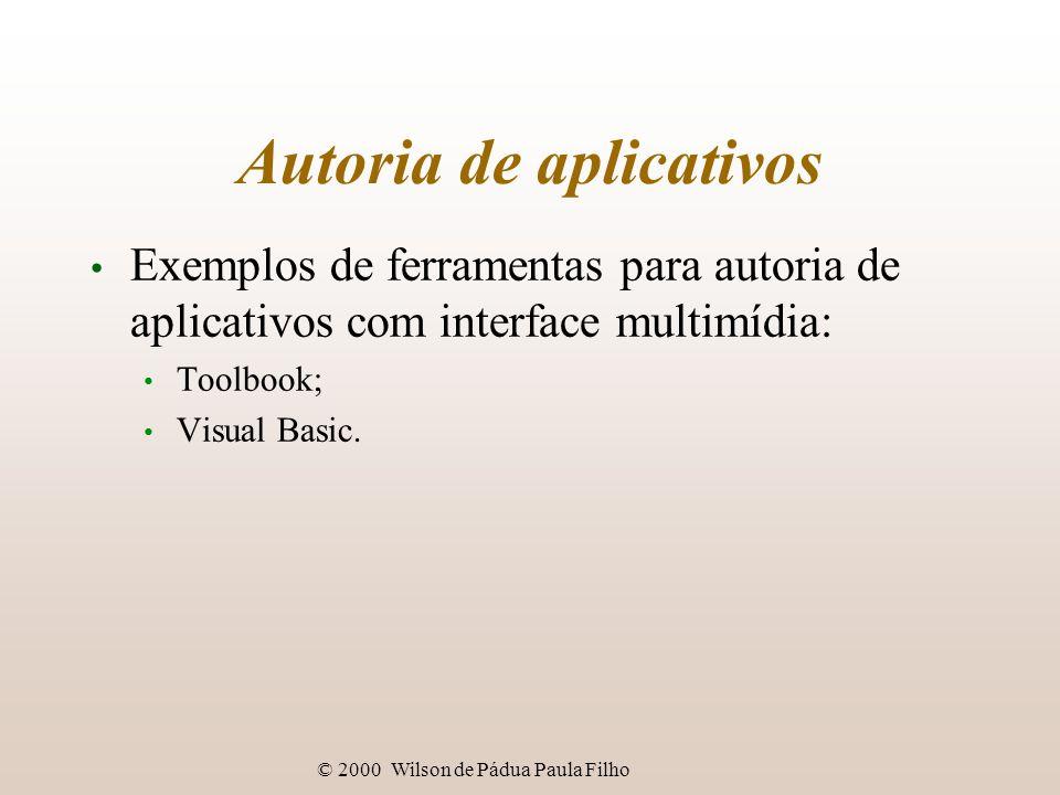 © 2000 Wilson de Pádua Paula Filho Autoria de aplicativos Exemplos de ferramentas para autoria de aplicativos com interface multimídia: Toolbook; Visual Basic.