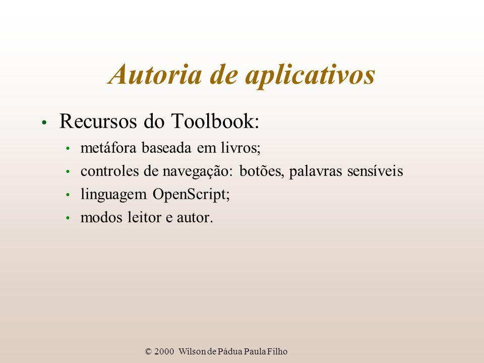 © 2000 Wilson de Pádua Paula Filho Autoria de aplicativos Recursos do Toolbook: metáfora baseada em livros; controles de navegação: botões, palavras sensíveis linguagem OpenScript; modos leitor e autor.