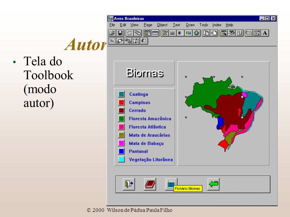 © 2000 Wilson de Pádua Paula Filho Autoria de aplicativos Tela do Toolbook (modo autor)