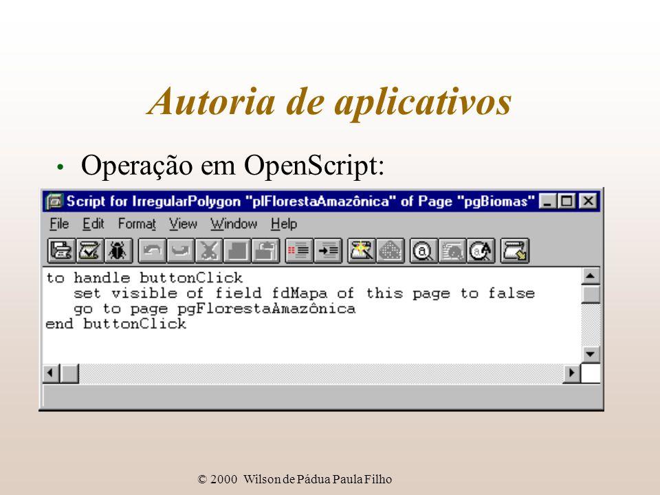 © 2000 Wilson de Pádua Paula Filho Autoria de aplicativos Operação em OpenScript:
