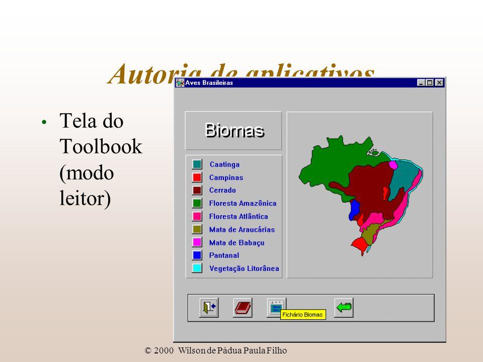© 2000 Wilson de Pádua Paula Filho Autoria de aplicativos Tela do Toolbook (modo leitor)