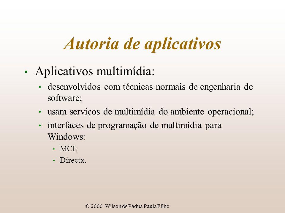 © 2000 Wilson de Pádua Paula Filho Autoria de aplicativos Aplicativos multimídia: desenvolvidos com técnicas normais de engenharia de software; usam serviços de multimídia do ambiente operacional; interfaces de programação de multimídia para Windows: MCI; Directx.