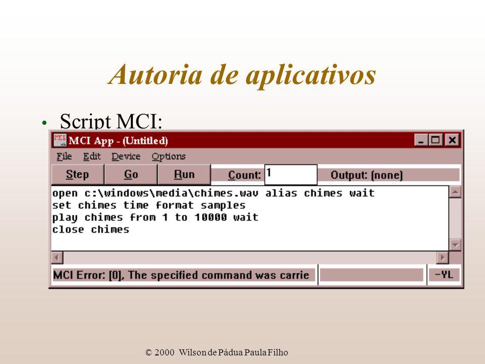 © 2000 Wilson de Pádua Paula Filho Autoria de aplicativos Script MCI: