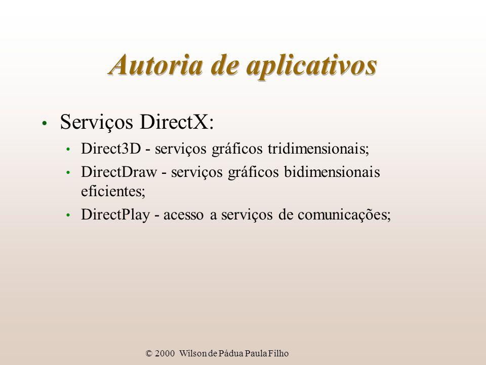 © 2000 Wilson de Pádua Paula Filho Autoria de aplicativos Serviços DirectX: Direct3D - serviços gráficos tridimensionais; DirectDraw - serviços gráficos bidimensionais eficientes; DirectPlay - acesso a serviços de comunicações;