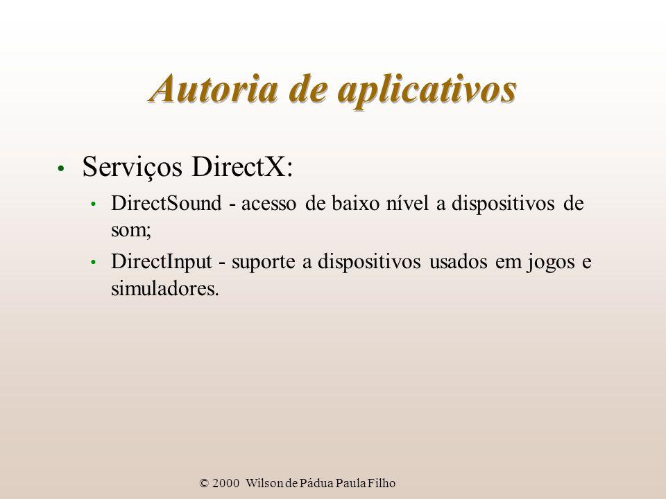 © 2000 Wilson de Pádua Paula Filho Autoria de aplicativos Serviços DirectX: DirectSound - acesso de baixo nível a dispositivos de som; DirectInput - suporte a dispositivos usados em jogos e simuladores.