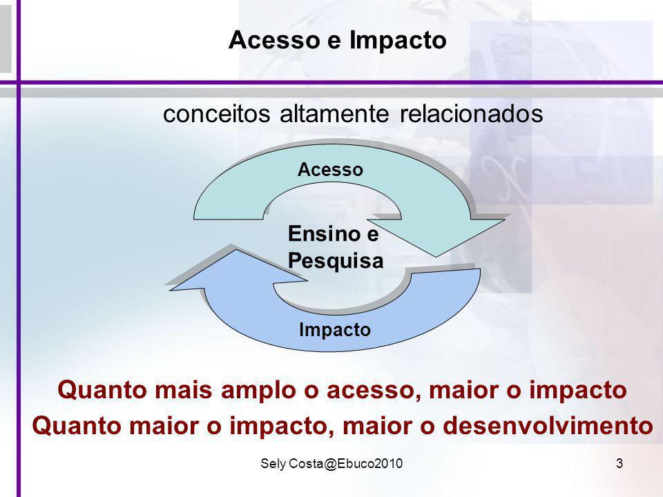Sely Costa@Ebuco20103 Acesso e Impacto conceitos altamente relacionados Quanto mais amplo o acesso, maior o impacto Quanto maior o impacto, maior o de