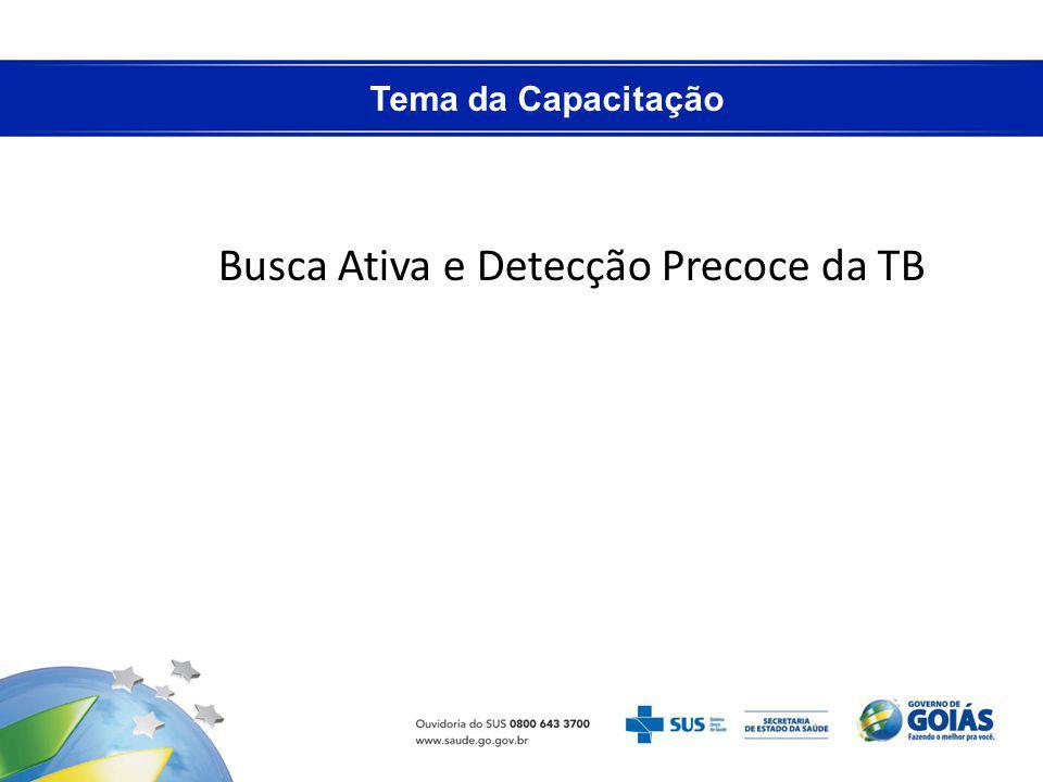 Tema da Capacitação Busca Ativa e Detecção Precoce da TB
