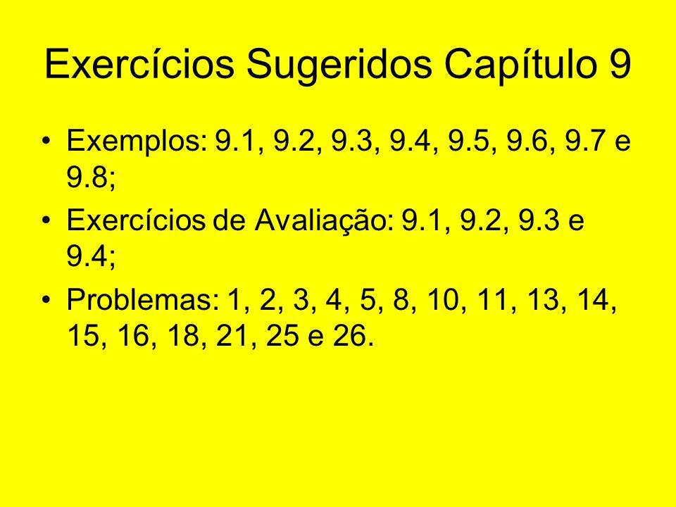 Exercícios Sugeridos Capítulo 9 Exemplos: 9.1, 9.2, 9.3, 9.4, 9.5, 9.6, 9.7 e 9.8; Exercícios de Avaliação: 9.1, 9.2, 9.3 e 9.4; Problemas: 1, 2, 3, 4