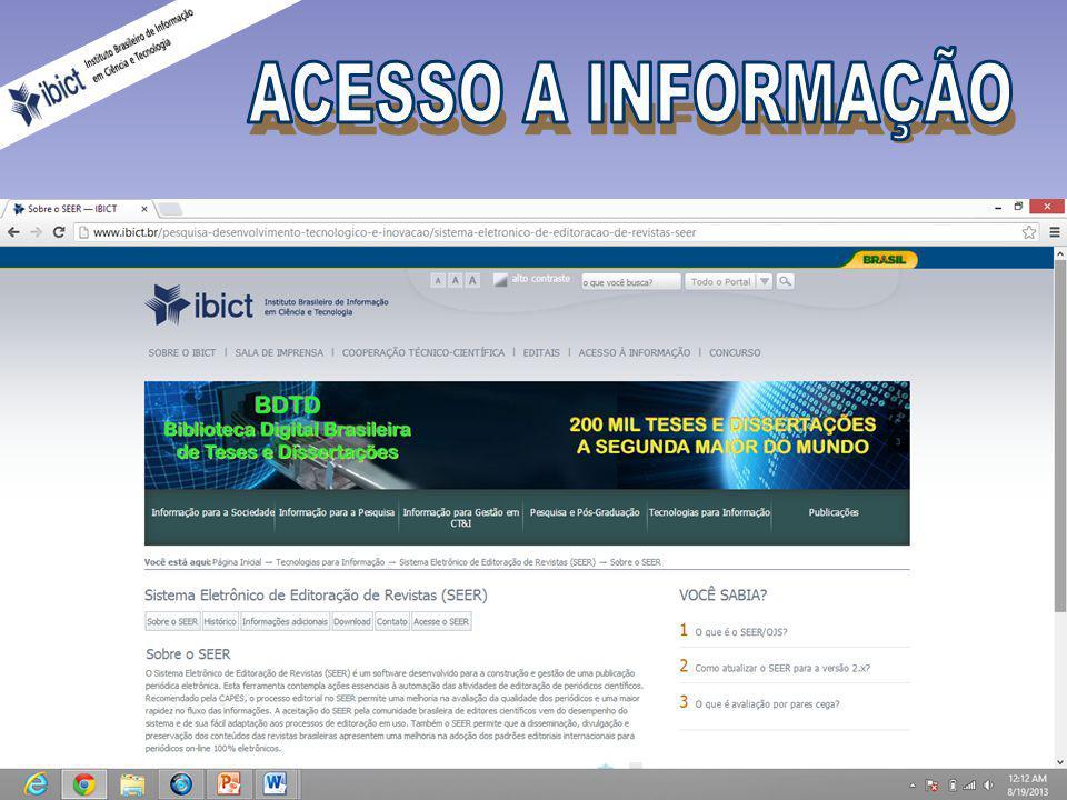 O IBICT promove a disseminação das tecnologias da informação e da comunicação desenvolvidas para o tratamento e disseminação da informação no país.