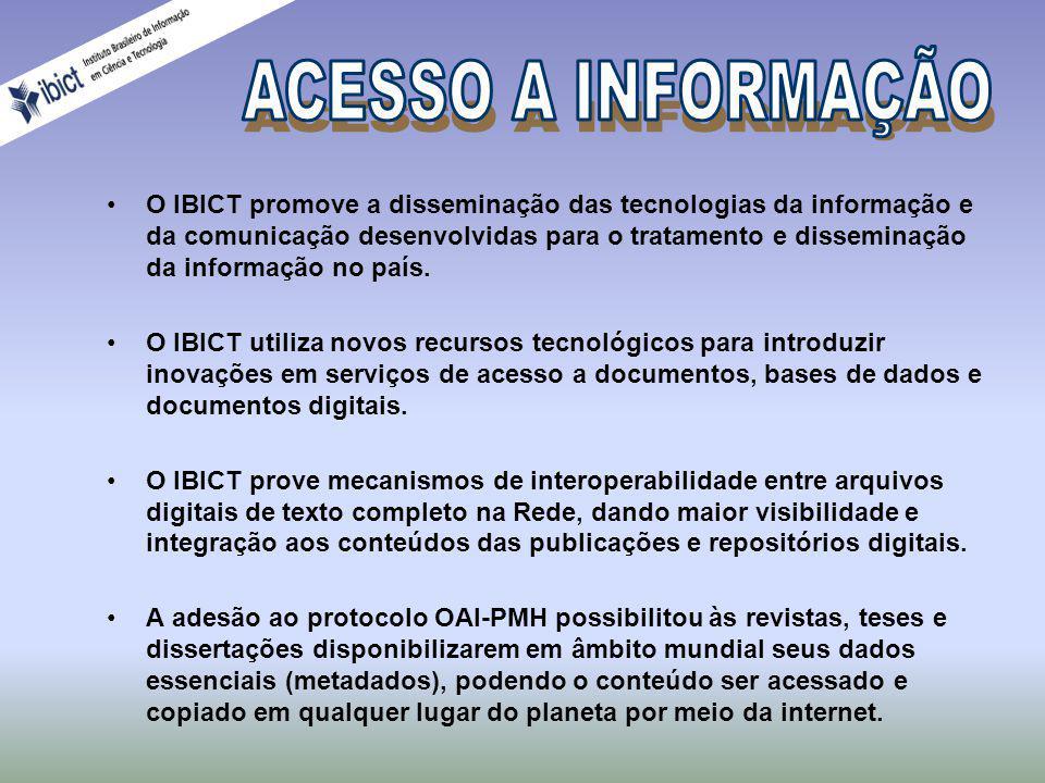 Acesso e Registro de Publicações Integração de catálogos, fornecimento de cópias de documentos por meio de redes de computadores, registro de títulos brasileiros, indexação