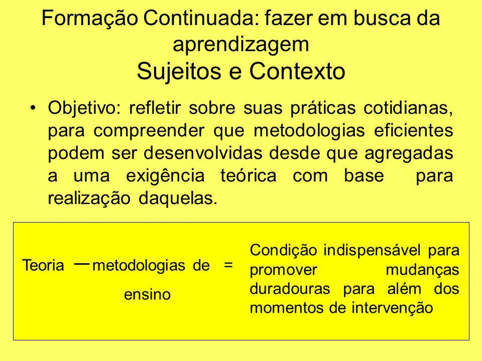 Metodologia de Intervenção Ponto de partida: elaboração das próprias professoras e socialização da compreensão a respeito das finalidades e função social que acreditavam estar desenvolvendo.