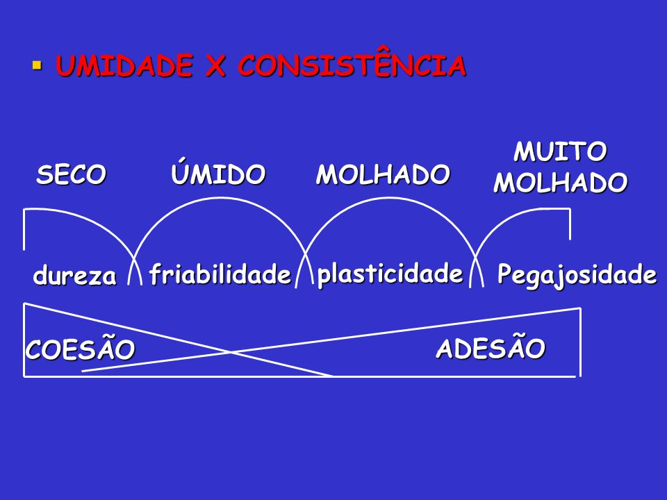 UMIDADE X CONSISTÊNCIA UMIDADE X CONSISTÊNCIA dureza friabilidade plasticidade Pegajosidade SECOÚMIDOMOLHADO MUITOMOLHADO ADESÃO COESÃO