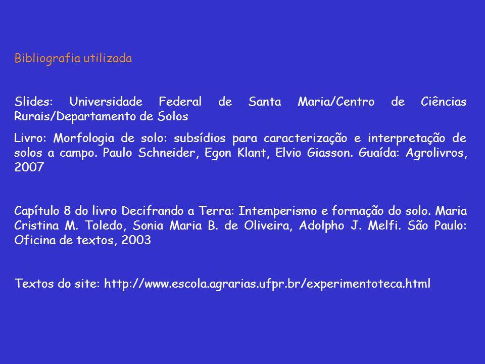 Bibliografia utilizada Slides: Universidade Federal de Santa Maria/Centro de Ciências Rurais/Departamento de Solos Livro: Morfologia de solo: subsídio