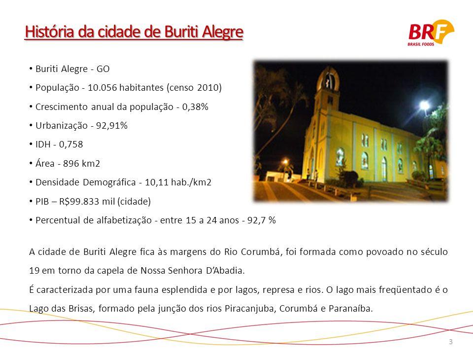 3 História da cidade de Buriti Alegre Buriti Alegre - GO População - 10.056 habitantes (censo 2010) Crescimento anual da população - 0,38% Urbanização - 92,91% IDH - 0,758 Área - 896 km2 Densidade Demográfica - 10,11 hab./km2 PIB – R$99.833 mil (cidade) Percentual de alfabetização - entre 15 a 24 anos - 92,7 % A cidade de Buriti Alegre fica às margens do Rio Corumbá, foi formada como povoado no século 19 em torno da capela de Nossa Senhora DAbadia.