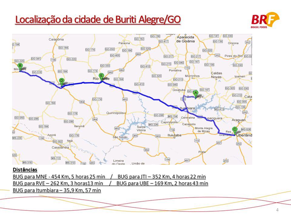 4 Localização da cidade de Buriti Alegre/GO Distâncias BUG para MNE - 454 Km, 5 horas 25 min / BUG para JTI – 352 Km, 4 horas 22 min BUG para RVE – 262 Km, 3 horas13 min / BUG para UBE – 169 Km, 2 horas 43 min BUG para Itumbiara – 35,9 Km, 57 min