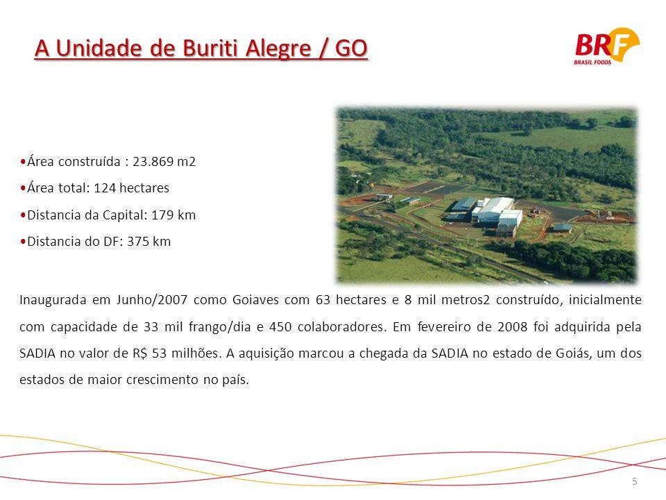5 A Unidade de Buriti Alegre / GO Inaugurada em Junho/2007 como Goiaves com 63 hectares e 8 mil metros2 construído, inicialmente com capacidade de 33 mil frango/dia e 450 colaboradores.