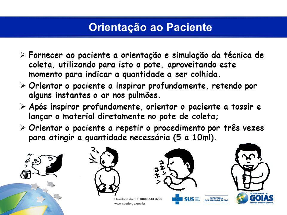 Orientação ao Paciente Fornecer ao paciente a orientação e simulação da técnica de coleta, utilizando para isto o pote, aproveitando este momento para