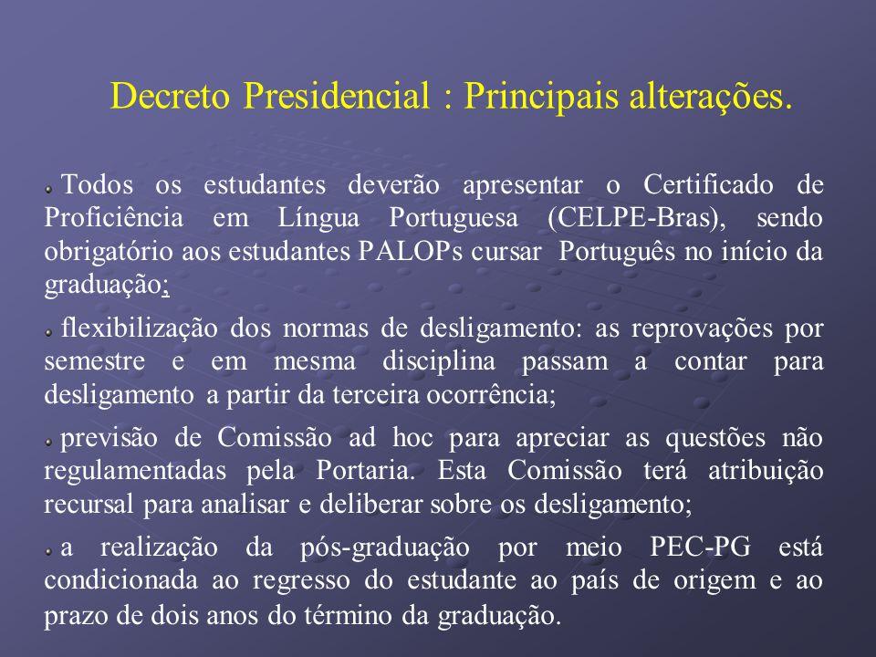 Decreto Presidencial : Principais alterações. Todos os estudantes deverão apresentar o Certificado de Proficiência em Língua Portuguesa (CELPE-Bras),