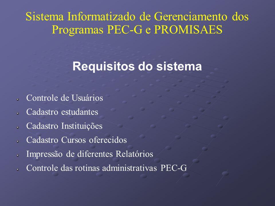 Sistema Informatizado de Gerenciamento dos Programas PEC-G e PROMISAES Requisitos do sistema Controle de Usuários Cadastro estudantes Cadastro Institu
