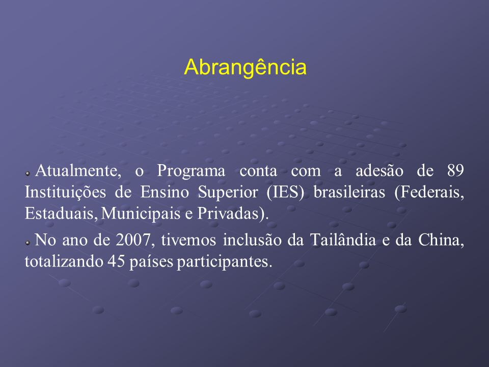 Abrangência Atualmente, o Programa conta com a adesão de 89 Instituições de Ensino Superior (IES) brasileiras (Federais, Estaduais, Municipais e Priva