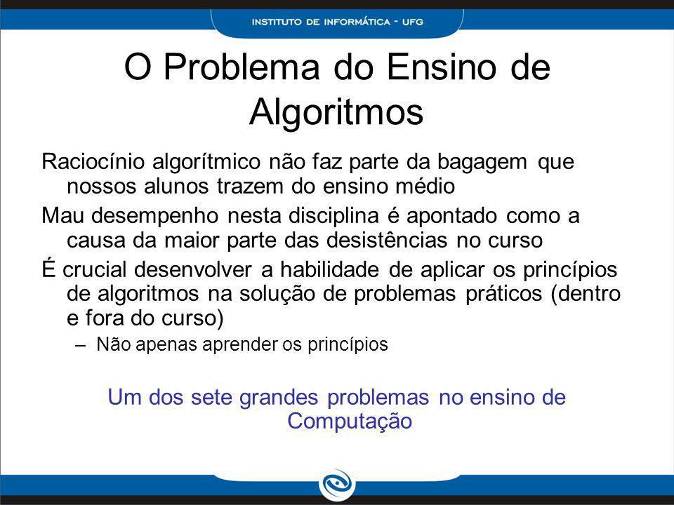O Problema do Ensino de Algoritmos Raciocínio algorítmico não faz parte da bagagem que nossos alunos trazem do ensino médio Mau desempenho nesta disci