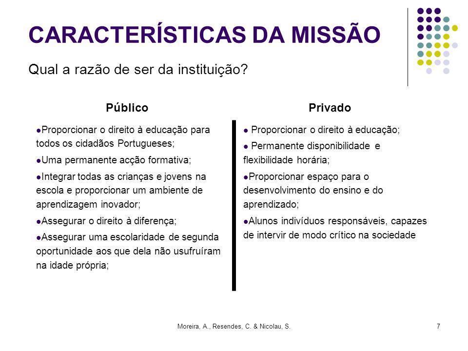Moreira, A., Resendes, C. & Nicolau, S.7 CARACTERÍSTICAS DA MISSÃO Qual a razão de ser da instituição? Proporcionar o direito à educação para todos os