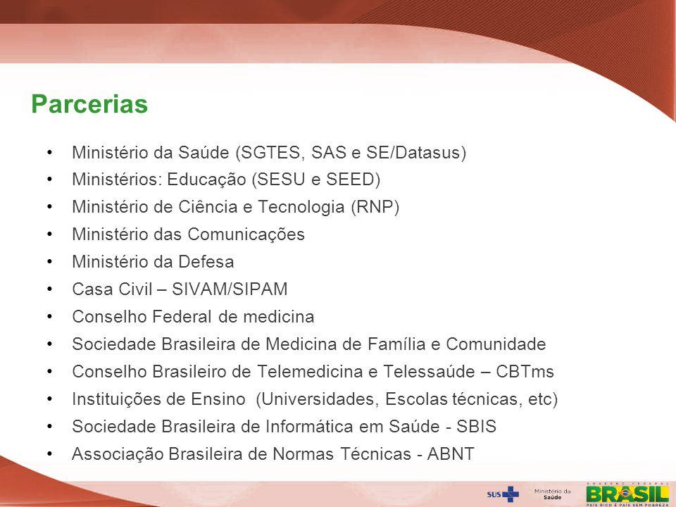 Secretaria de Gestão do Trabalho e da Educação na Saúde Parcerias Ministério da Saúde (SGTES, SAS e SE/Datasus) Ministérios: Educação (SESU e SEED) Mi