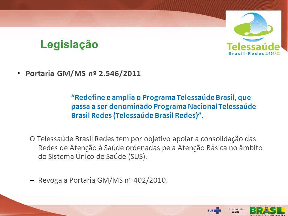 Secretaria de Gestão do Trabalho e da Educação na Saúde Legislação Portaria GM/MS nº 2.546/2011 Redefine e amplia o Programa Telessaúde Brasil, que pa