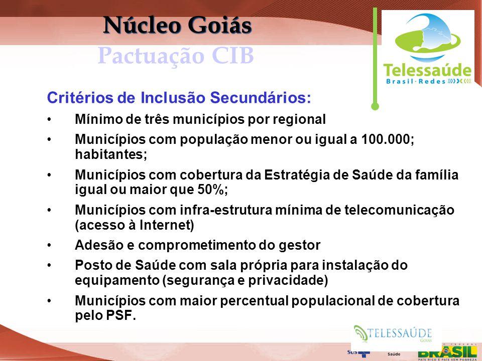 Secretaria de Gestão do Trabalho e da Educação na Saúde Critérios de Inclusão Secundários: Mínimo de três municípios por regional Municípios com popul