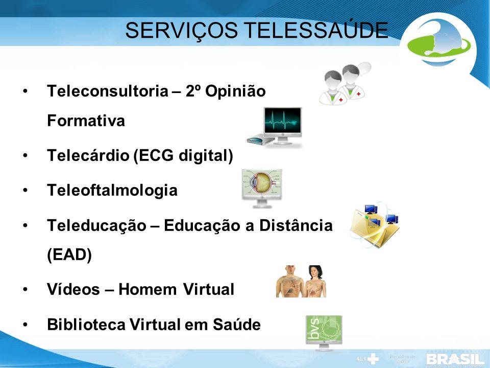 Secretaria de Gestão do Trabalho e da Educação na Saúde SERVIÇOS TELESSAÚDE Teleconsultoria – 2º Opinião Formativa Telecárdio (ECG digital) Teleoftalm