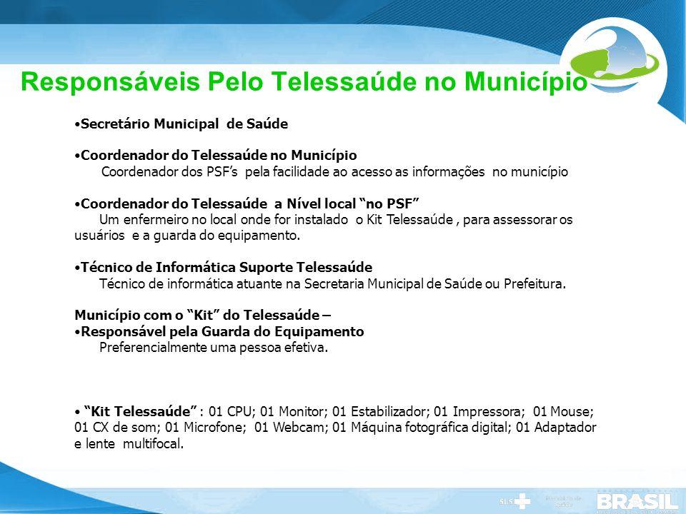 Secretaria de Gestão do Trabalho e da Educação na Saúde Responsáveis Pelo Telessaúde no Município Secretário Municipal de Saúde Coordenador do Telessa