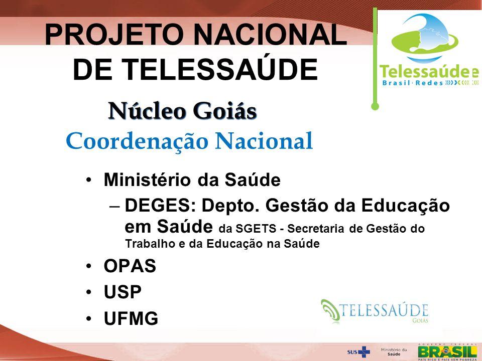 Secretaria de Gestão do Trabalho e da Educação na Saúde Universidade Federal de Goiás – UFG Faculdade de Medicina – FM-UFG Núcleo de Telemedicina e Telessaúde da FM-UFG - NUTTs Fundação de Apoio ao Hospital das Clínicas – FUNDAHC PROJETO NACIONAL DE TELESSAÚDE Núcleo Goiás Coordenação Local