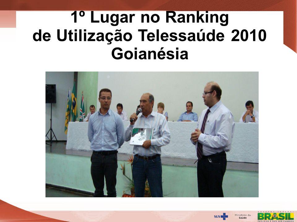 Secretaria de Gestão do Trabalho e da Educação na Saúde 1º Lugar no Ranking de Utilização Telessaúde 2010 Goianésia
