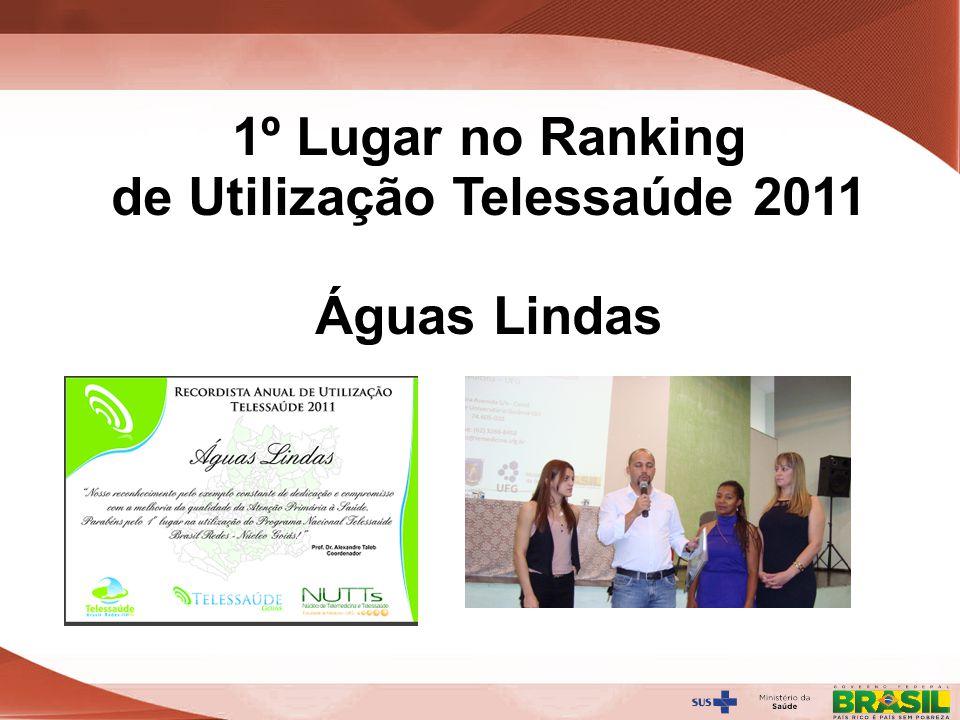 Secretaria de Gestão do Trabalho e da Educação na Saúde 1º Lugar no Ranking de Utilização Telessaúde 2011 Águas Lindas