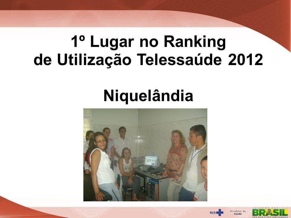 Secretaria de Gestão do Trabalho e da Educação na Saúde 1º Lugar no Ranking de Utilização Telessaúde 2012 Niquelândia