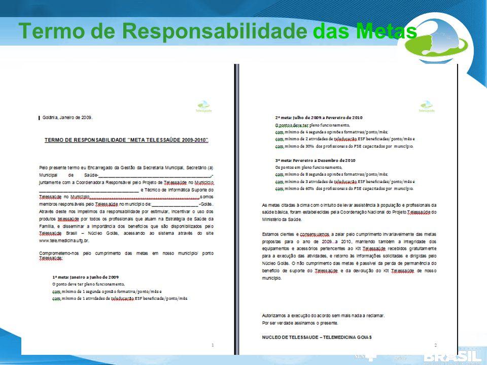 Secretaria de Gestão do Trabalho e da Educação na Saúde Termo de Responsabilidade das Metas