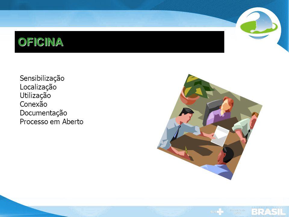 Secretaria de Gestão do Trabalho e da Educação na Saúde OFICINA Sensibilização Localização Utilização Conexão Documentação Processo em Aberto