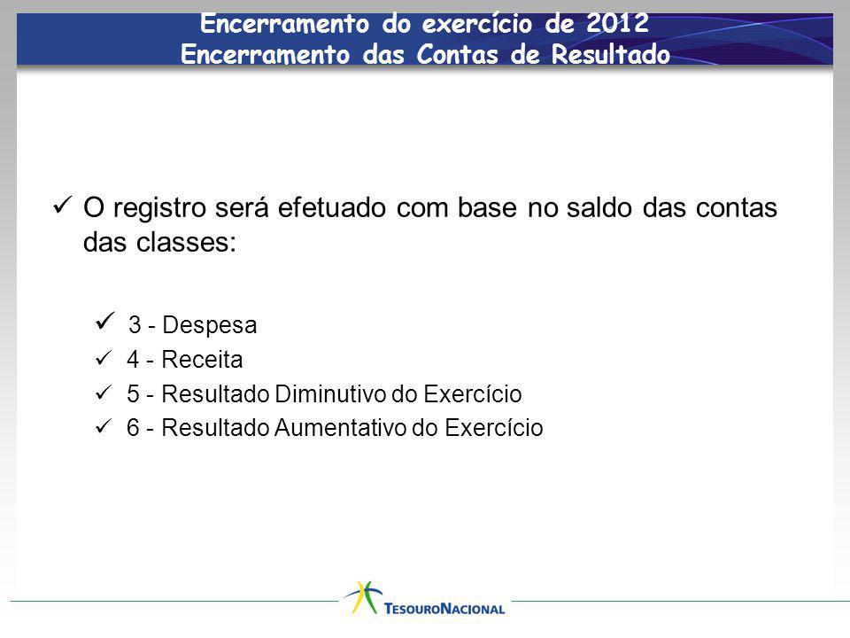 Encerramento do exercício de 2012 Encerramento das Contas de Resultado O registro será efetuado com base no saldo das contas das classes: 3 - Despesa 4 - Receita 5 - Resultado Diminutivo do Exercício 6 - Resultado Aumentativo do Exercício